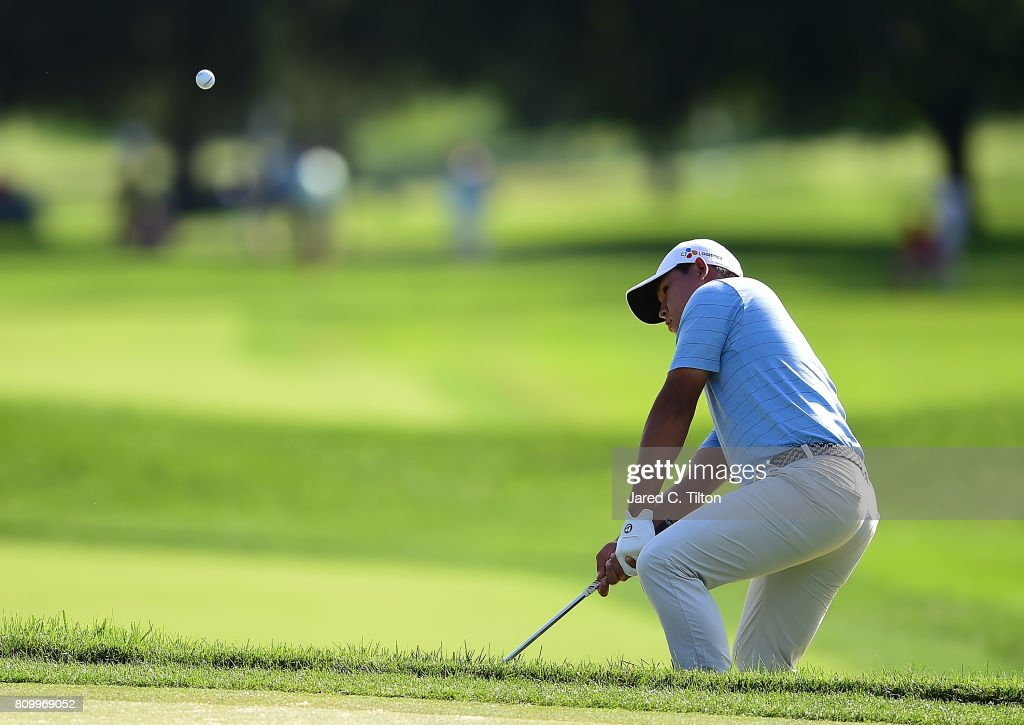 Si Woo Kim of Korea plays his shot on the 17th hole during round one of The Greenbrier Classic held at the Old White TPC on July 6, 2017 in White Sulphur Springs, West Virginia.