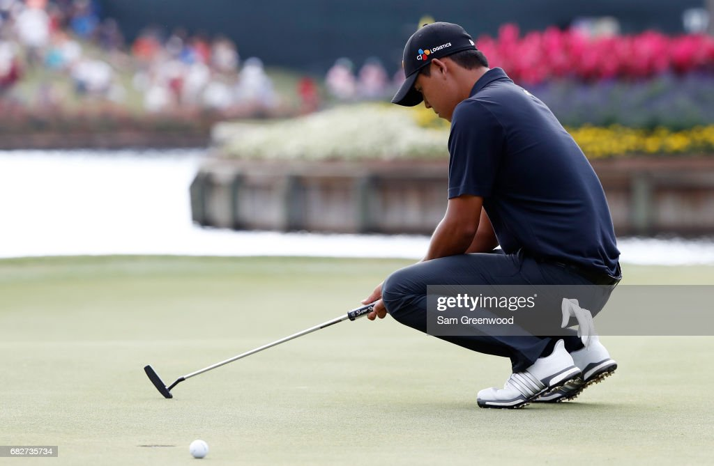 Si Woo Kim of Korea reacts on the 16th green during the third round of THE PLAYERS Championship at the Stadium course at TPC Sawgrass on May 13, 2017 in Ponte Vedra Beach, Florida.