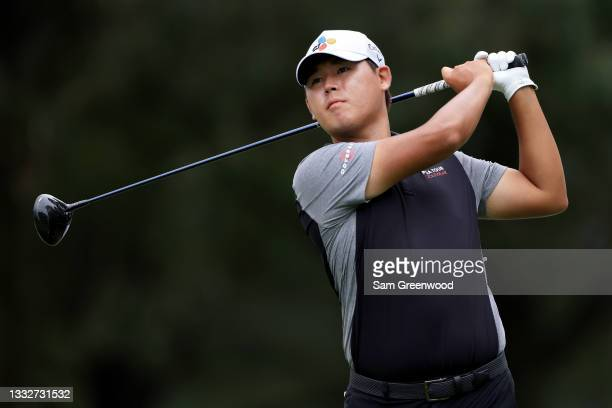 Si Woo Kim of South Korea plays his shot from the fifth tee during the second round of the FedEx St. Jude Invitational at TPC Southwind on August 06,...