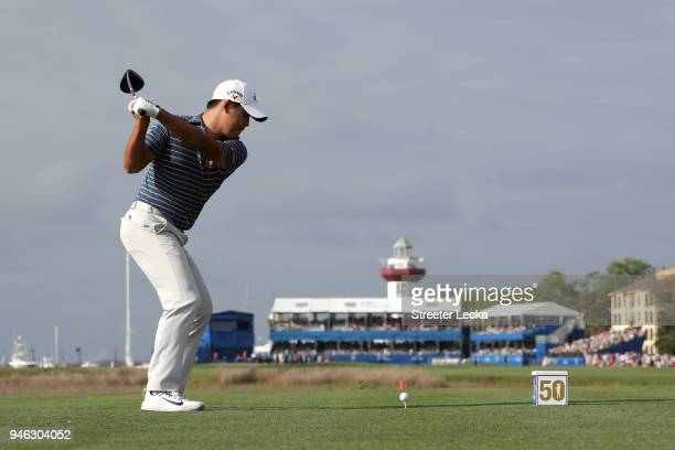Si Woo Kim of South Korea plays his tee shot on the 18th hole during the third round of the 2018 RBC Heritage at Harbour Town Golf Links on April 14,...