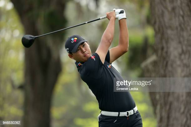 Si Woo Kim of South Korea plays his tee shot on the third hole during the final round of the 2018 RBC Heritage at Harbour Town Golf Links on April...