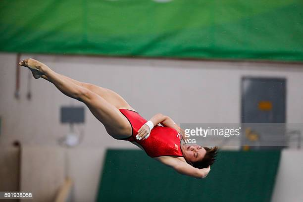 Si Yajie of China competes during the Women's 10m Platform final diving at the Maria Lenk Aquatics Centre on day 13 of the 2016 Rio Olympic Games on...