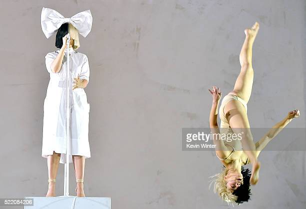 Sia and dancer perform onstage during day 3 of the 2016 Coachella Valley Music And Arts Festival Weekend 1 at the Empire Polo Club on April 17 2016...