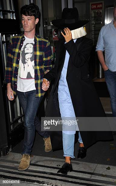 Sia is helped into BBC Radio 2 on December 8 2015 in London England
