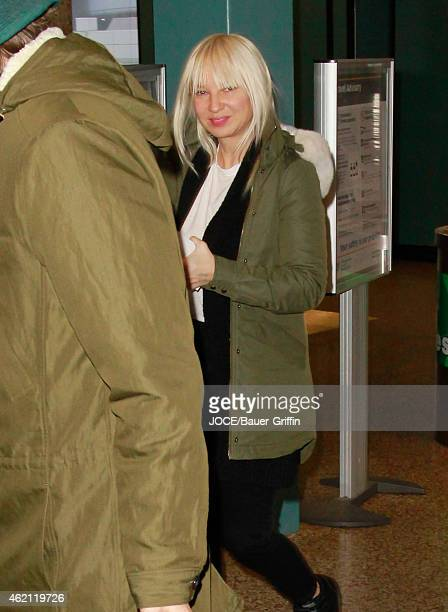 Sia is seen at Salt Lake City Airport on January 24 2015 in Park City Utah