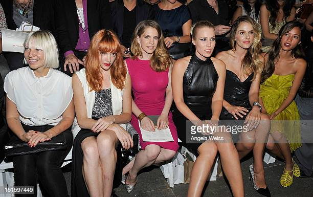 Sia Nicole Laliberte Anna Chlumsky Natasha Bedingfield Monet Mazur and Kelsey Chow attend the Christian Siriano show during Spring 2013 MercedesBenz...