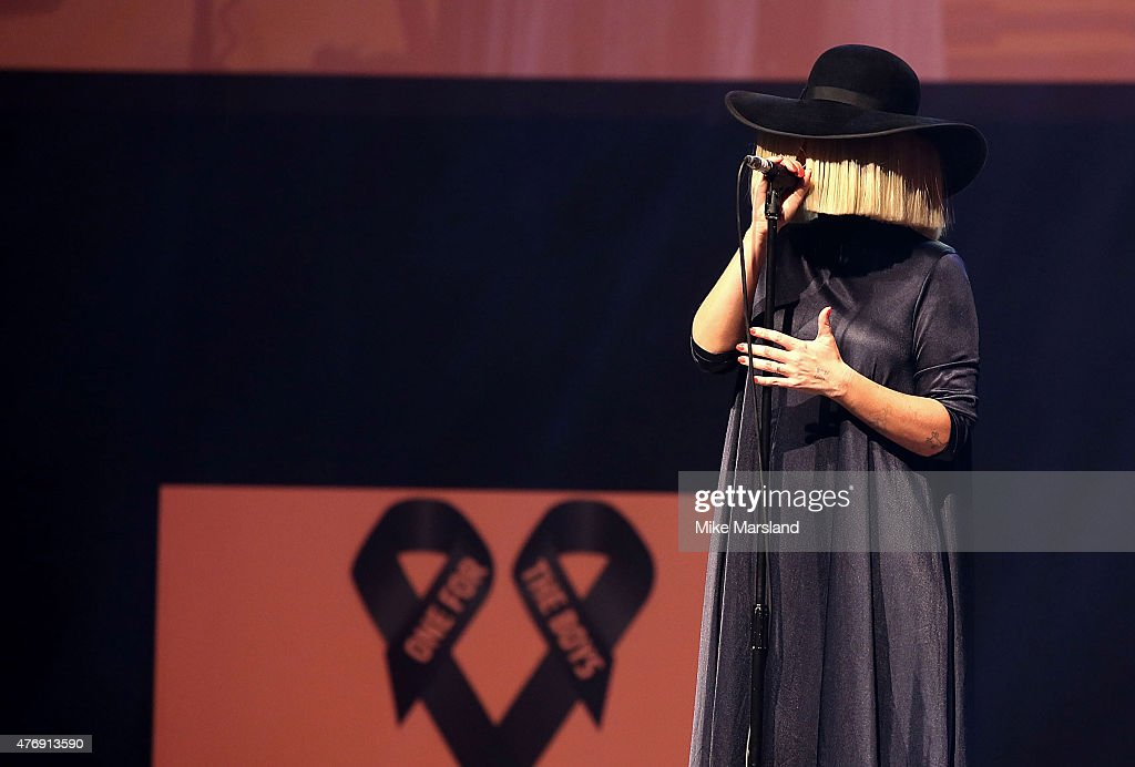 Sia performing live at One For The Boys Fashion Ball hosted by Samuel L. Jackson, uniting men against cancer to kick start London Collections Men at The Roundhouse on June 12, 2015 in London, England.