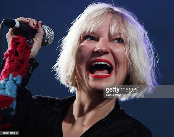 Sia performs ahead of the 2010 ARIA Awards at The Royal Botanic Gardens on November 4 2010 in Sydney Australia Sia is nominated in six ARIA award...