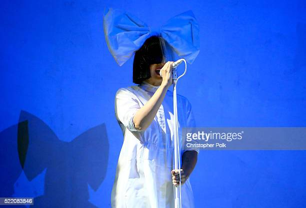 Sia performs on day 3 of the 2016 Coachella Valley Music Arts Festival Weekend 1 at the Empire Polo Club on April 17 2016 in Indio California