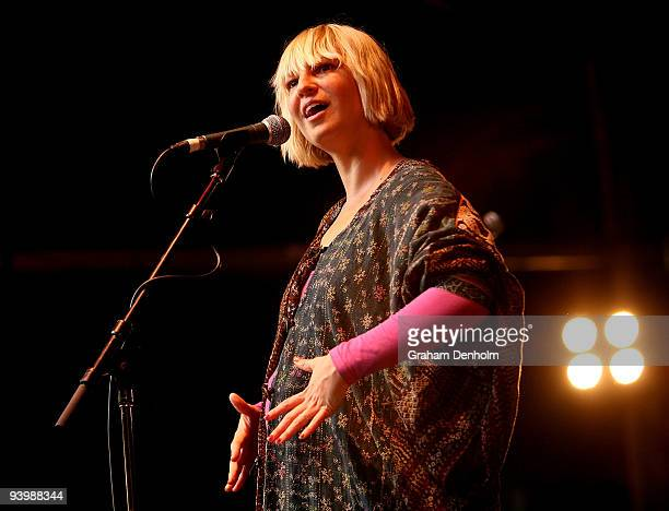 Sia performs on stage during Homebake Music Festival 2009 at the Domain on December 5 2009 in Sydney Australia