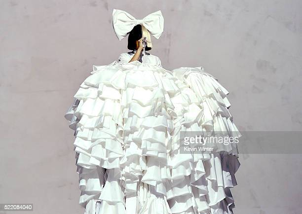 Sia performs onstage during day 3 of the 2016 Coachella Valley Music And Arts Festival Weekend 1 at the Empire Polo Club on April 17 2016 in Indio...