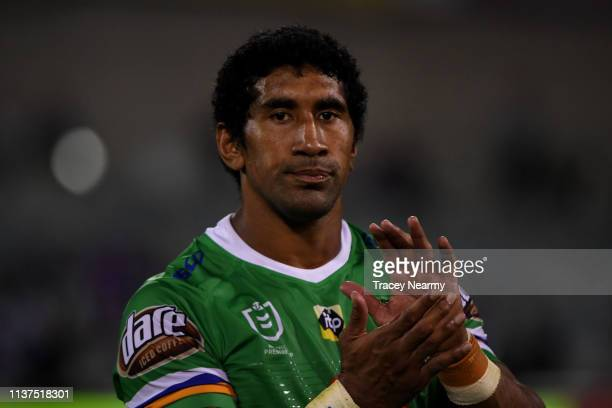 Sia Soliola of the Canberra Raiders reacts after losing the round two NRL match between the Canberra Raiders and the Melbourne Storm at GIO Stadium...