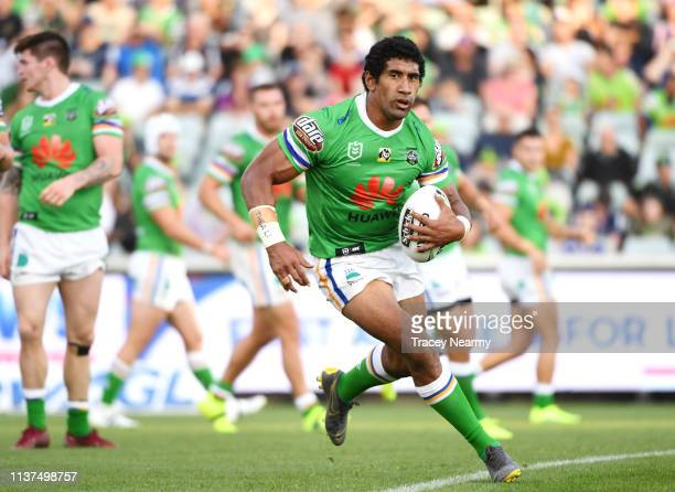Sia Soliola of the Canberra Raiders runs with the ball during the round two NRL match between the Canberra Raiders and the Melbourne Storm at GIO...