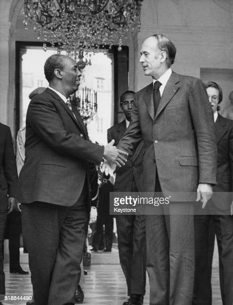Siad Barre President of the Somali Democratic Republic meets French President Valéry Giscard d'Estaing at the Elysee Palace in Paris France 14th...