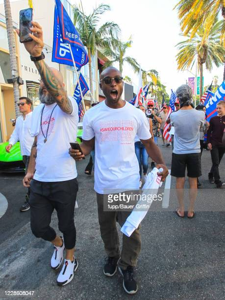 Siaka Massaquoi is seen during ProTrump Demonstration in West Hollywood on September 19 2020 in Los Angeles California