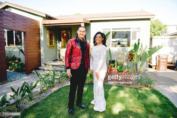 Siaki Sii and Nancy Fifita attend #SaveProm a virtual prom for high school kids hosted by My School Dance and Charlotte's Closet on May 2 2020 in...