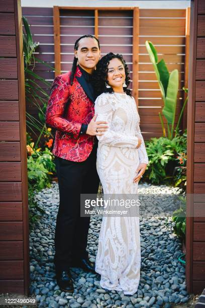 Siaki Sii and Nancy Fifita attend #SaveProm, a virtual prom for high school kids, hosted by My School Dance and Charlotte's Closet on May, 2 2020 in...