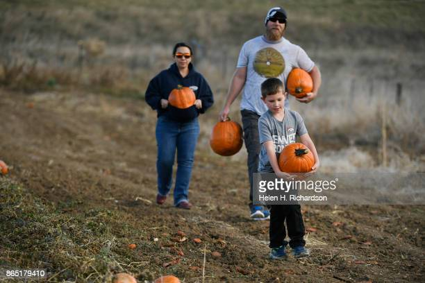 BROOMFIELD CO OCTOBER 22 Sialas Malakowsky leads the way carrying his big handpicked pumpkin with his dad Luke and mother Andrea following closely...