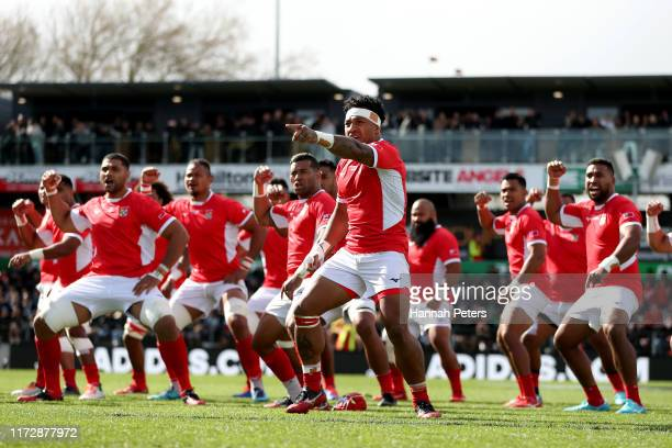 Siale Piutau of Tonga leads the Sipi Tau ahead of the rugby Test Match between the New Zealand All Blacks and Tonga at FMG Stadium on September 07,...