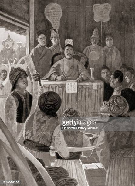 Siamese envoys paying tribute to the Emperor of China during the Ming dynasty presenting gifts of pepper satin ambergris ebony and ivory From...