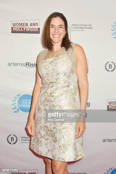 Sian Beilock Bernard College President attends the 2018 Athena Film Festival Awards Ceremony at The Diana Center At Barnard College on February 23...
