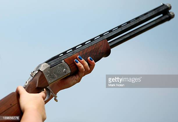 Sian Bruce of Great Britain competes in the Womens skeet during day three of the 2013 Australian Youth Olympic Festival at the Sydney International...