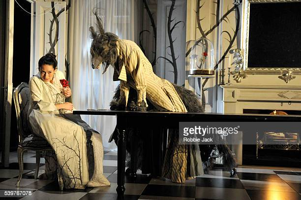 Sian Clifford as Beauty and Mark Arends as Beast in the National Theatre's production of Beauty and the Beast directed by Katie Mitchell at the...