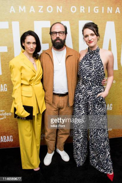 Sian Clifford Brett Gelman and Phoebe WallerBridge attend the Fleabag season 2 New York screening at Metrograph on May 02 2019 in New York City