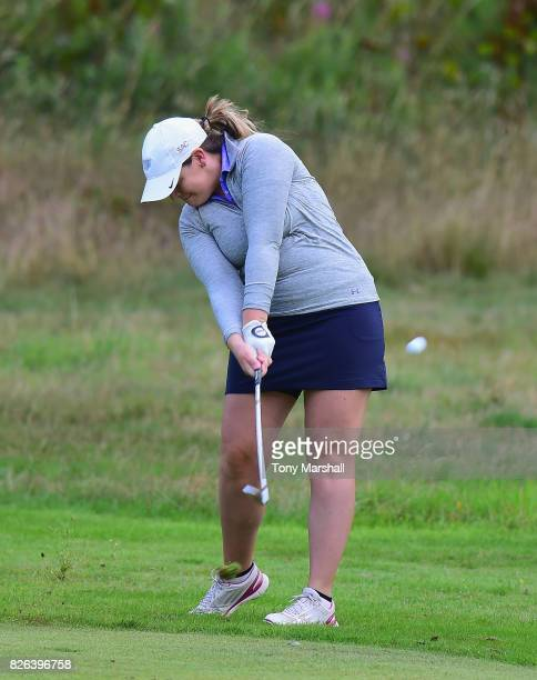 Sian Evans of Kings Hill Golf Club plays his second shot on the 1st fairway during Day Three of the Galvin Green PGA Assistants' Championship at...