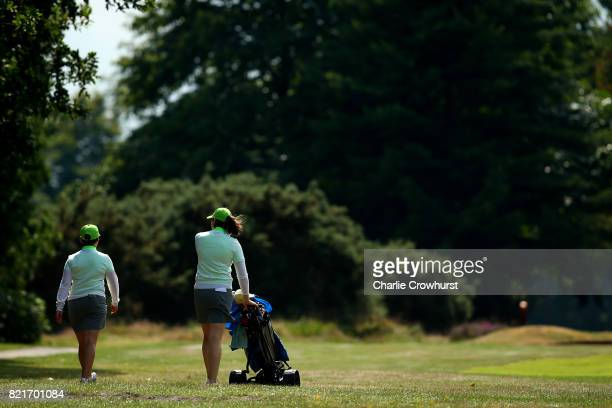 Sian James and Gulnida Toichieva of Wentworth Club in action during the Lombard Trophy WPGA South Qualifier at Camberley Health Golf Club on July 24...