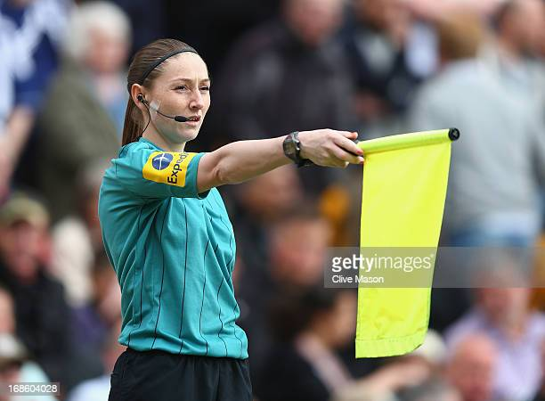 Sian Massey, the assistant referee in action during the Barclays Premier League match between Norwich City and West Bromwich Albion at Carrow Road on...