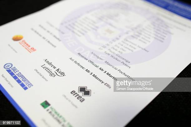 Sian MasseyEllis the female assistant referee is shown as 'Mr S MasseyEllis' on the official teamsheet during The Emirates FA Cup Fifth Round match...