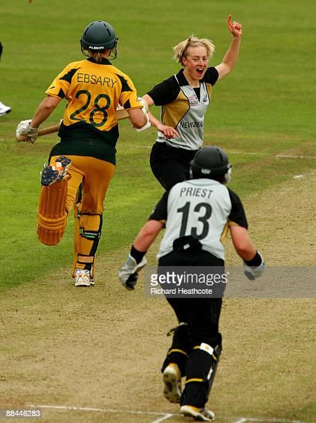 Sian Ruck of New Zealand celebrates taking the wicket of Lauren Ebsary of Australia during the ICC Women's Twenty20 World Cup match between Australia...