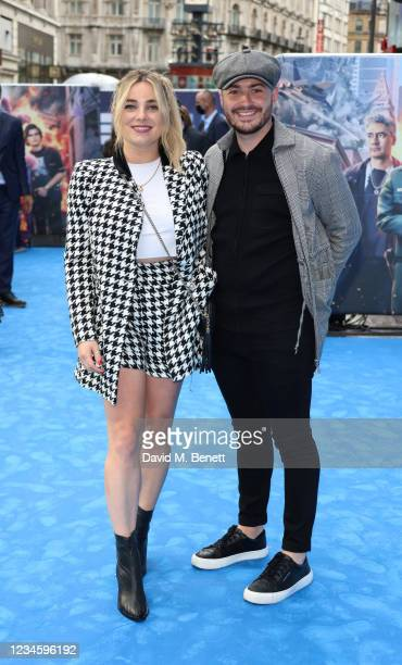 """Sian Welby and guest attend the UK Premiere of """"Free Guy"""" at Cineworld Leicester Square on August 9, 2021 in London, England."""