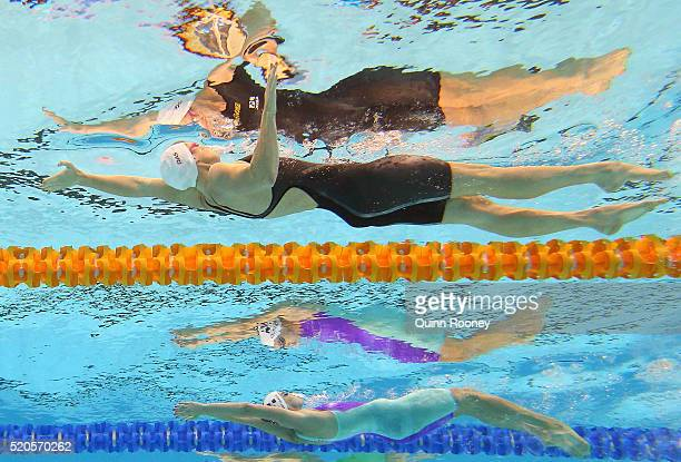 Sian Whittaker and Emily Seebohm of Australia compete in the Women's 200 Metre Backstroke during day six of the 2016 Australian Swimming...