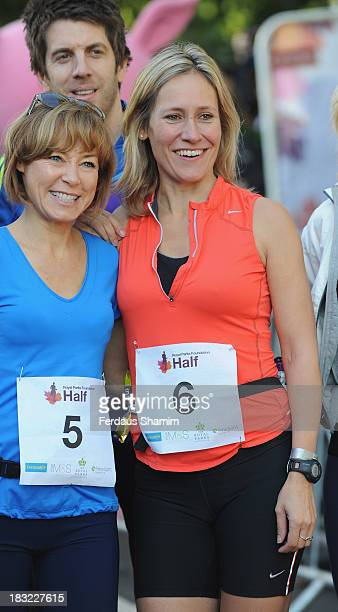 Sian Williams and Sophie Raworth attend the Royal Parks Foundation Half Marathon at Hyde Park on October 6 2013 in London England