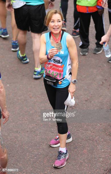 Sian Williams poses for a photo after completing the Virgin London Marathon on April 23 2017 in London England