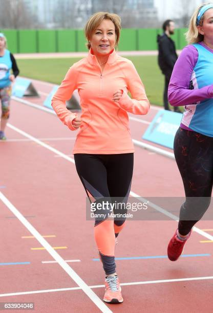 Sian Williams runs during a training day for the Heads Together team for the London Marathon at Olympic Park on February 5 2017 in London England