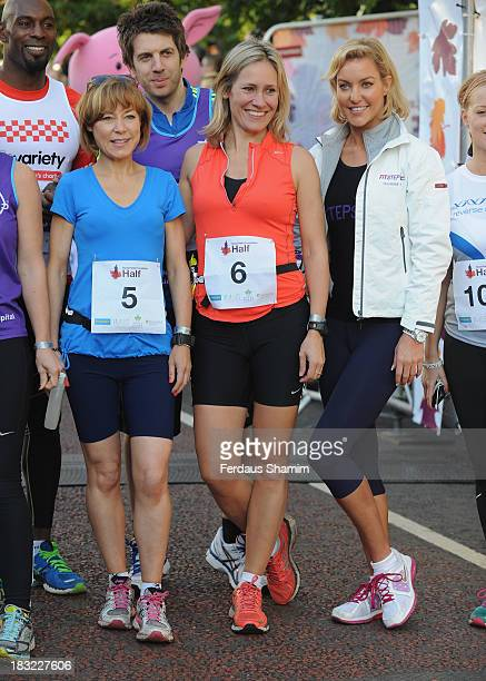 Sian Williams Sophie Raworth and Natalie Lowe attend the Royal Parks Foundation Half Marathon at Hyde Park on October 6 2013 in London England