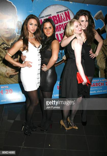 Sianad Gregory , Margarita Hall, Louise Dylan and Emer Kenny attends the VIP Screening of Lesbian Vampire Killers at Vue Cinema on March 17, 2009 in...