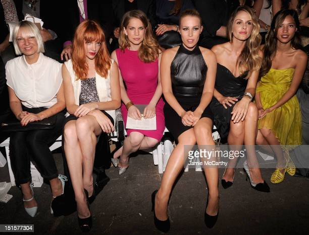 SiaNicole LaliberteAnna Chlumsky Natasha BedingfieldMonet Mazur and Kelsey Chow attend the Christian Siriano show during Spring 2013 MercedesBenz...