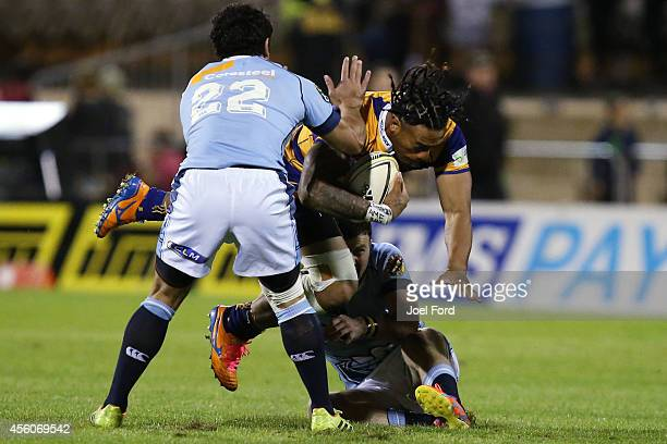 Siaosi Iongi of the Bay of Plenty Steamers is tackled during the ITM Cup match between Bay of Plenty and Northland on September 25 2014 in Mount...