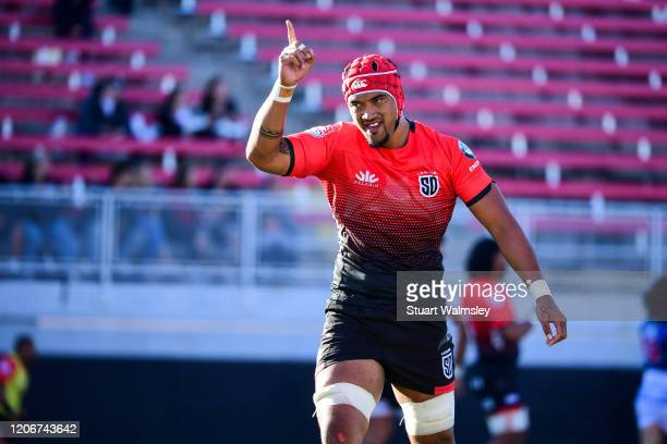 Siaosi Mahoni of the San Diego Legion celebrates a try by his team in a match against the Colorado Raptors during the Major League Rugby Vegas...