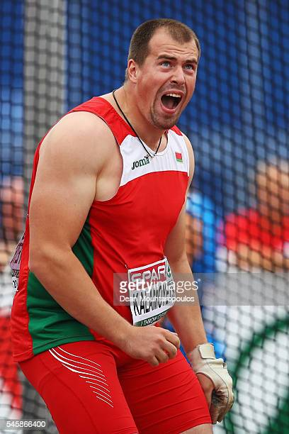 Siarhei Kalamoyets of Bulgaria in action during the final of the mens hammer on day five of The 23rd European Athletics Championships at Olympic...