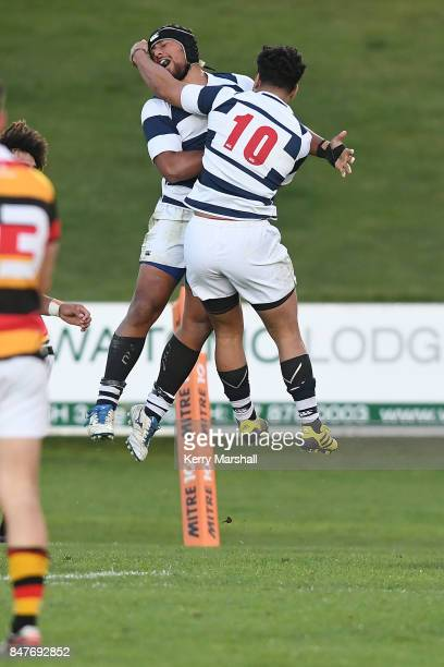 Siave Togoiu and Wiseguy Fiane of Auckland celebrate a try during the Jock Hobbs Memorial Tournament match between Waikato and Auckland on September...