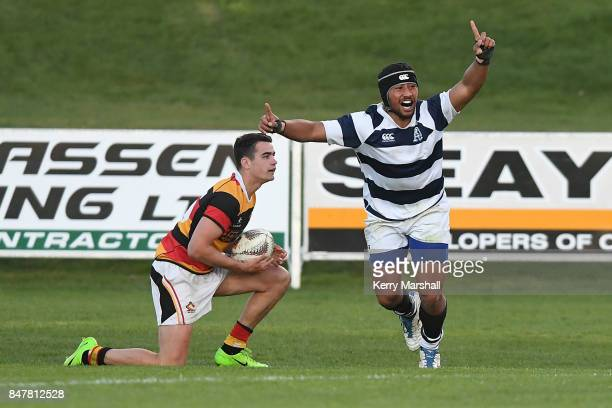 Siave Togoiu of Auckland celebrates a try during the Jock Hobbs Memorial Tournament match between Waikato and Auckland on September 16 2017 in Taupo...