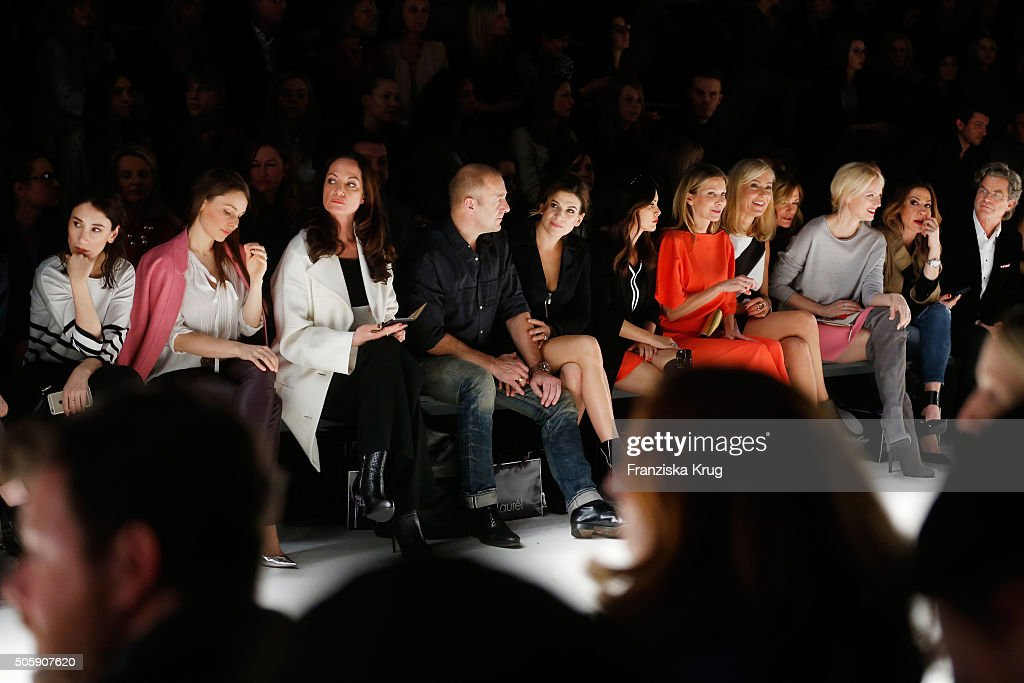 Sibel Kekilli, Mina Tander, Natalia Woerner, Heino Ferch, Marie Jeanette Ferch, Viktoria Lauterbach, Ursula Karven, Judith Milberg, Franziska Knuppe, Simone Thomalla and Florian Langenscheidt attend the Laurel show during the Mercedes-Benz Fashion Week Berlin Autumn/Winter 2016 at Brandenburg Gate on January 20, 2016 in Berlin, Germany.