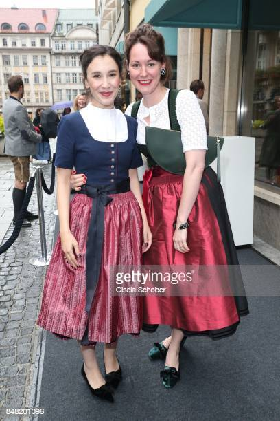Sibel Kekilli, wearing a dirndl by Amsel Fashion and Alexandra von Frankenberg, dirndl designer Amsel Fashion during the 'Fruehstueck bei Tiffany' at...