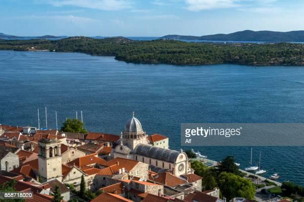 Sibenik's old town as seen from Barone fortress, Croatia