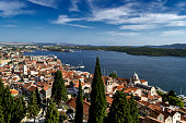 Sibenik's old town as seen from Barone fortress, Sibenik, Croatia